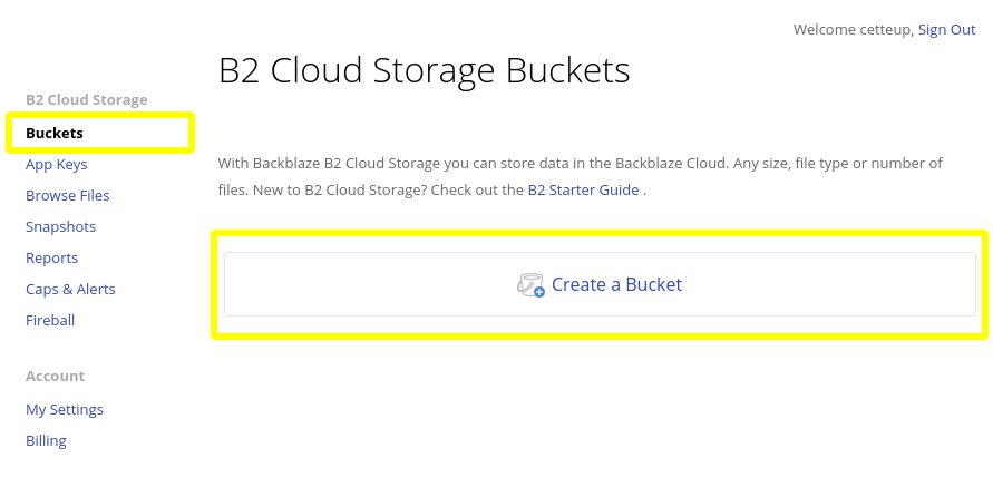 Screenshot of Backblaze's web interface for Bucket management