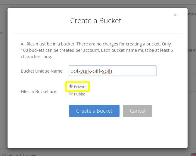 Screenshot of Backblaze's web interface for creating a new bucket