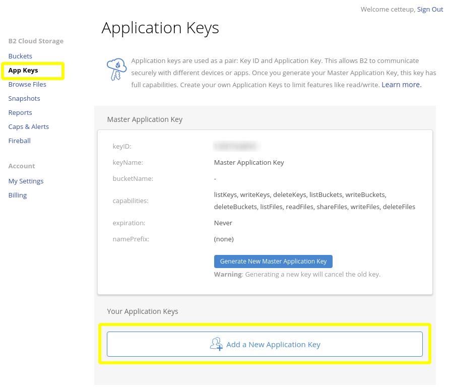 Screenshot of Backblaze's web interface for key management