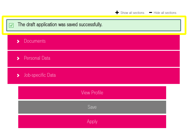 Screenshot of SuccessFactors message after an application draft has been saved successfully