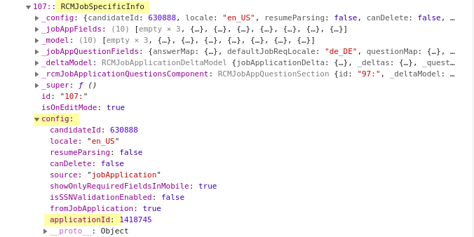 Screenshot of Chromium's developer tools console showing the structure of an RCMJobSpecificInfo object