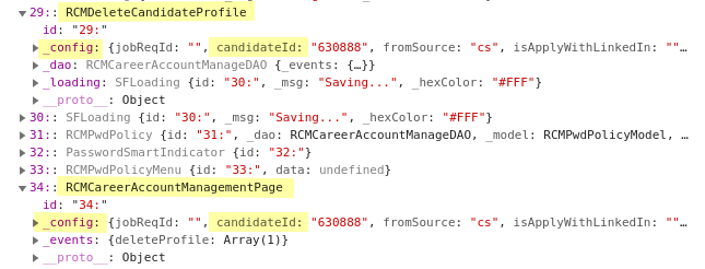 Screenshot of Chromium's developer tools console showing the structure of both a RCMDeleteCandidateProfile and RCMCareerManagementPage object