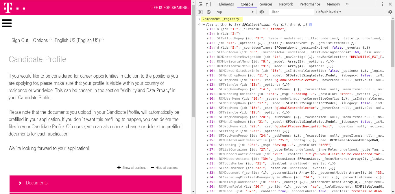 Screenshot of Chromiums developer tools console showing SAP SuccessFactors Component._registry
