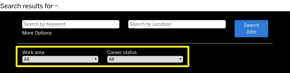 "Screenshot of SAP SuccessFactors' job search inputs with ""More Options"" visible"