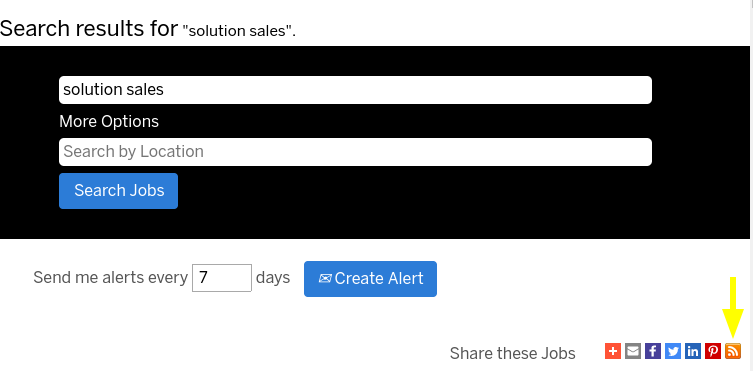 Screenshot of SuccessFactors' search box with RSS feed sharing option